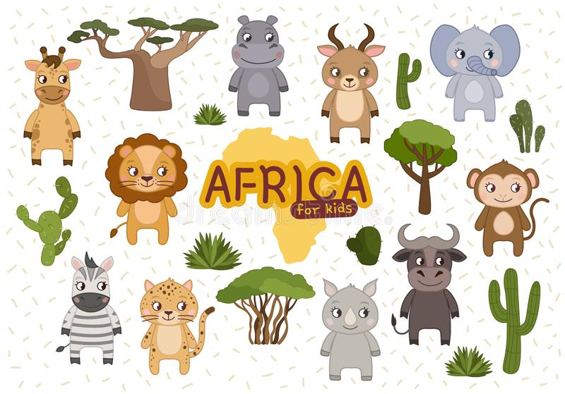 vector Vastgesteld Afrika stock illustratie