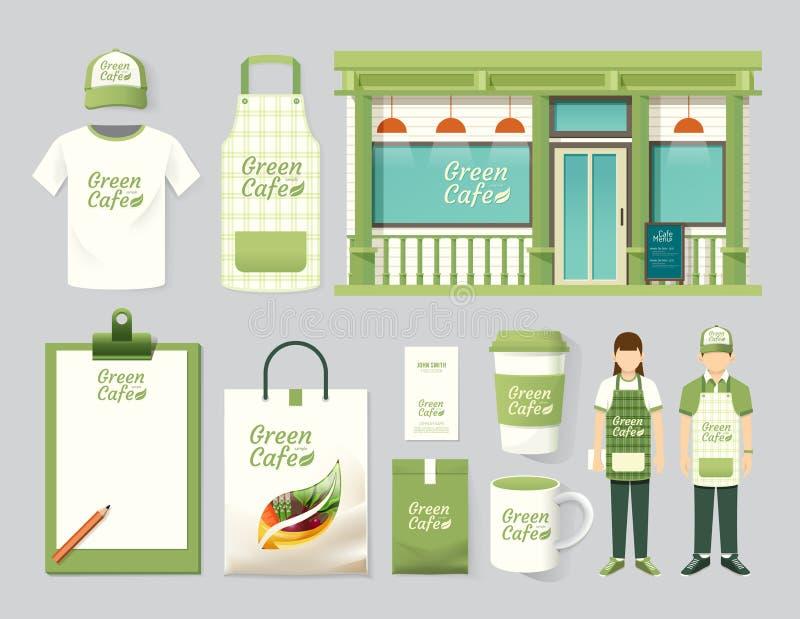 Vector vastgesteld de winkel voorontwerp van de restaurantkoffie, vlieger, menu stock illustratie