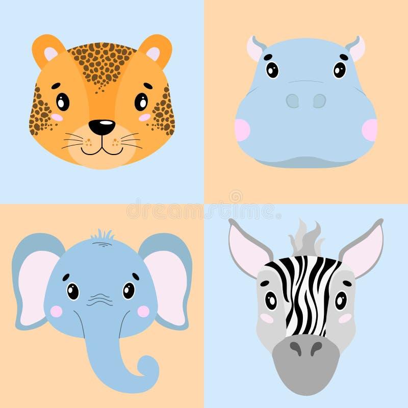 Vector vastgesteld illustratiebeeldverhaal van dierlijke gezichten Olifant, zebra, hippo, luipaardillustratie dierentuin royalty-vrije illustratie