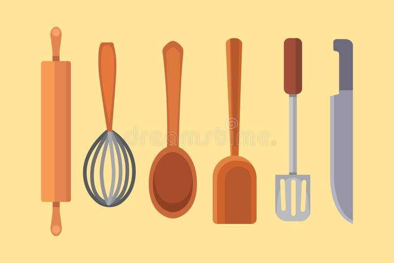 Vector Vastgesteld Keukengerei het koken hulpmiddelen vlakke stijl kokmateriaal geïsoleerde voorwerpen stock illustratie