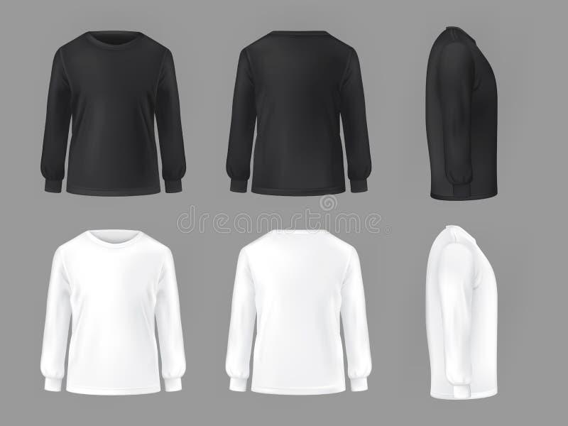 Vector vastgesteld malplaatje van mannelijke T-shirts met lange koker royalty-vrije illustratie