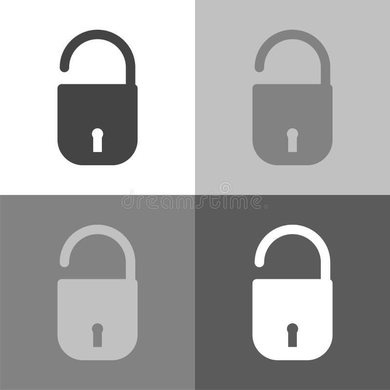 Vector vastgesteld pictogram open hangslot Open slotpictogram op wit-grijs royalty-vrije illustratie