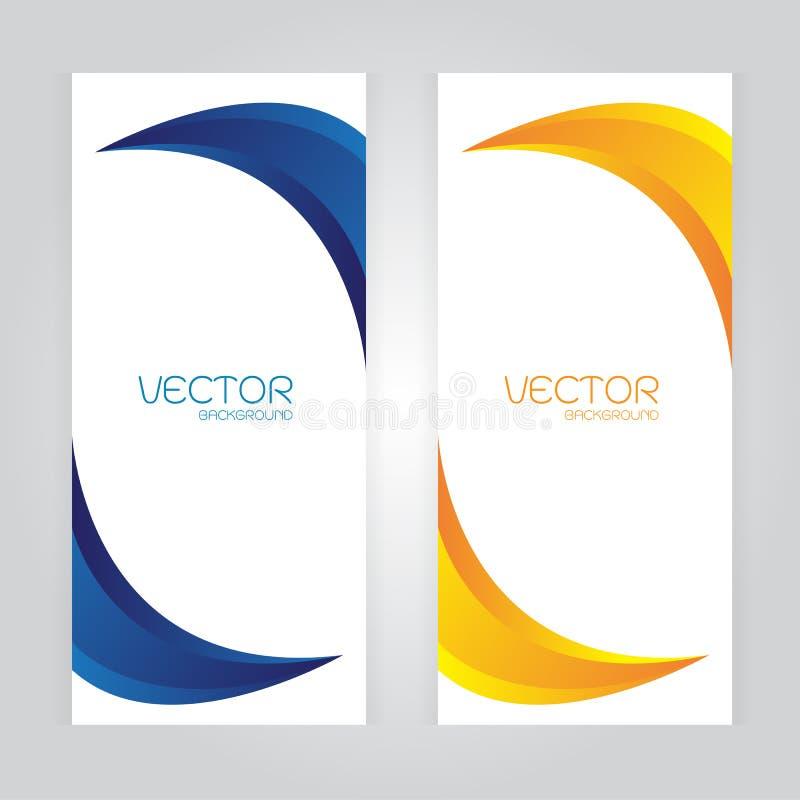 Vector vastgestelde Abstracte achtergrond met gebogen blauwe Oranje kleuren ruimte stock illustratie
