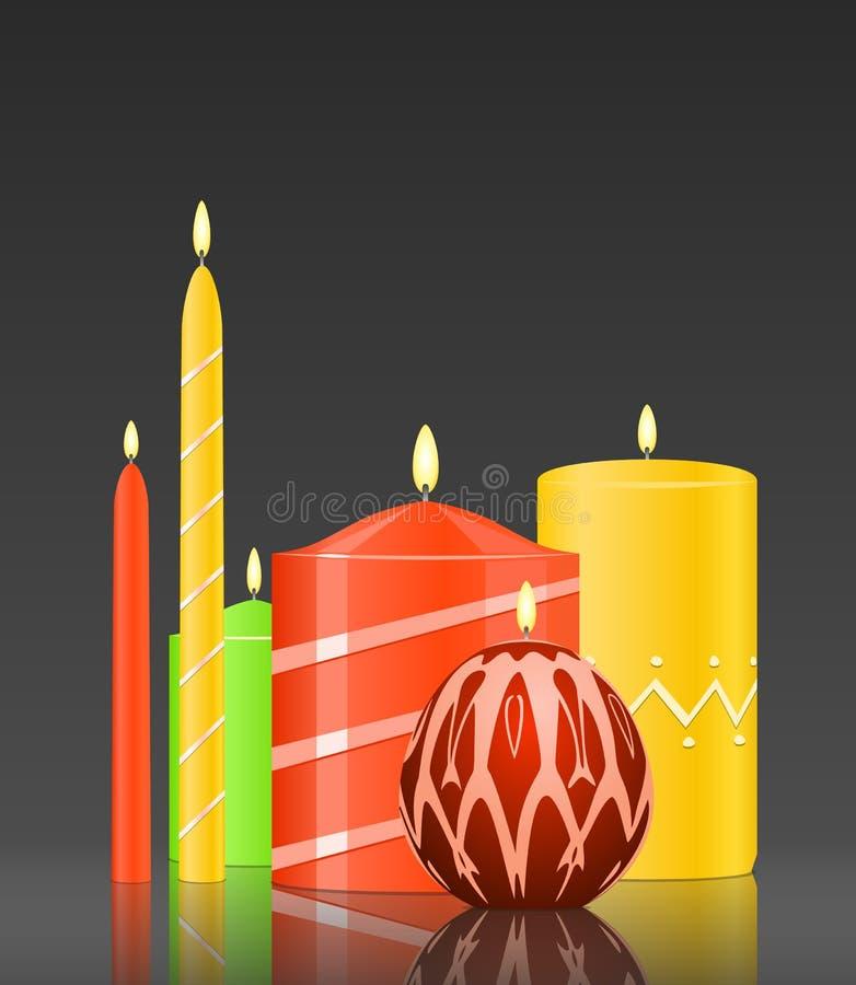 Vector vastgestelde brandende kaarsen royalty-vrije illustratie