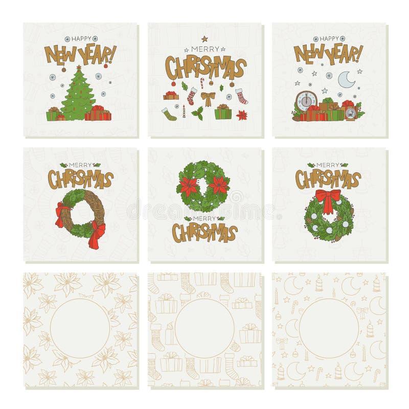 Vector vastgestelde groetkaarten met gouden het van letters voorzien Kerstmis en nieuwe jaar naadloze patronen Vakantiesymbolen e stock illustratie