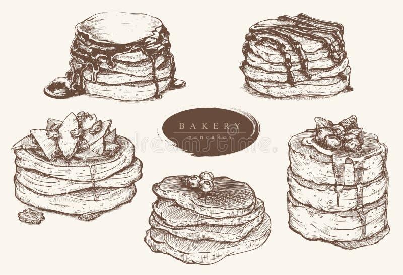 Vector vastgestelde illustratie van diverse soorten pannekoeken vector illustratie