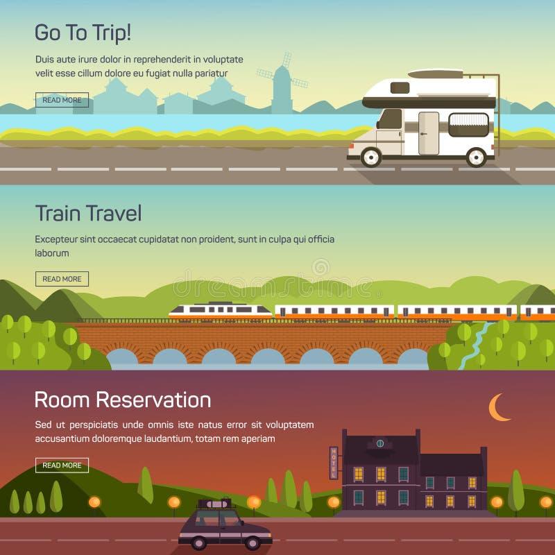 Vector vastgestelde illustraties van het reizen vector illustratie