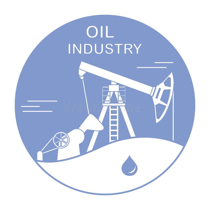 Oil industry equipment Pumpjack Vector. Vector. Vector illustration with equipment for oil production. Oil industry. Working oil pump royalty free illustration
