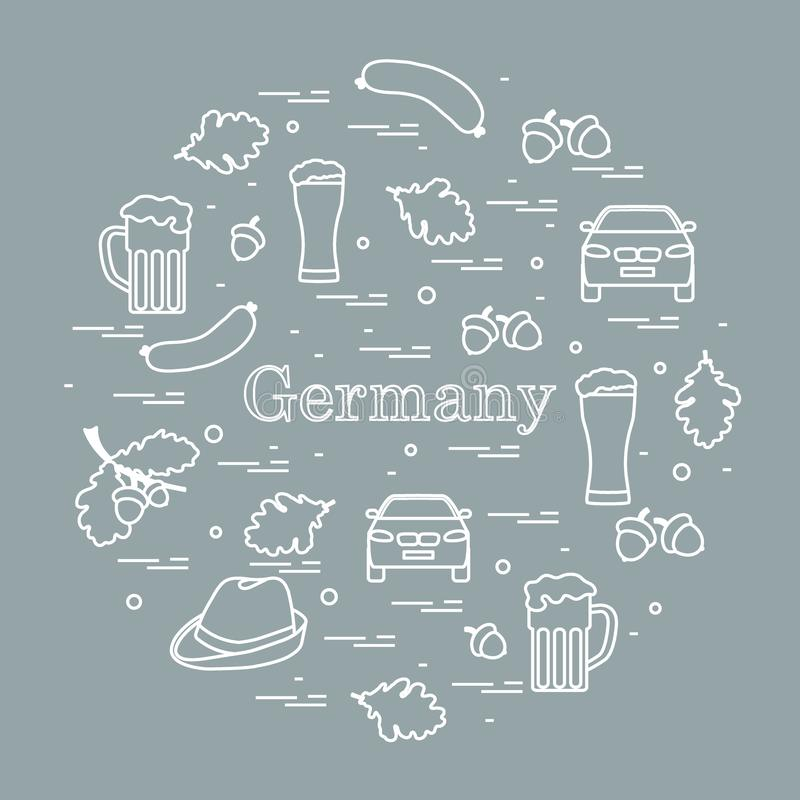 Vector illustration with various symbols of Germany arranged in a circle. Travel and leisure. Design for banner, poster or print. Vector. Vector illustration stock illustration