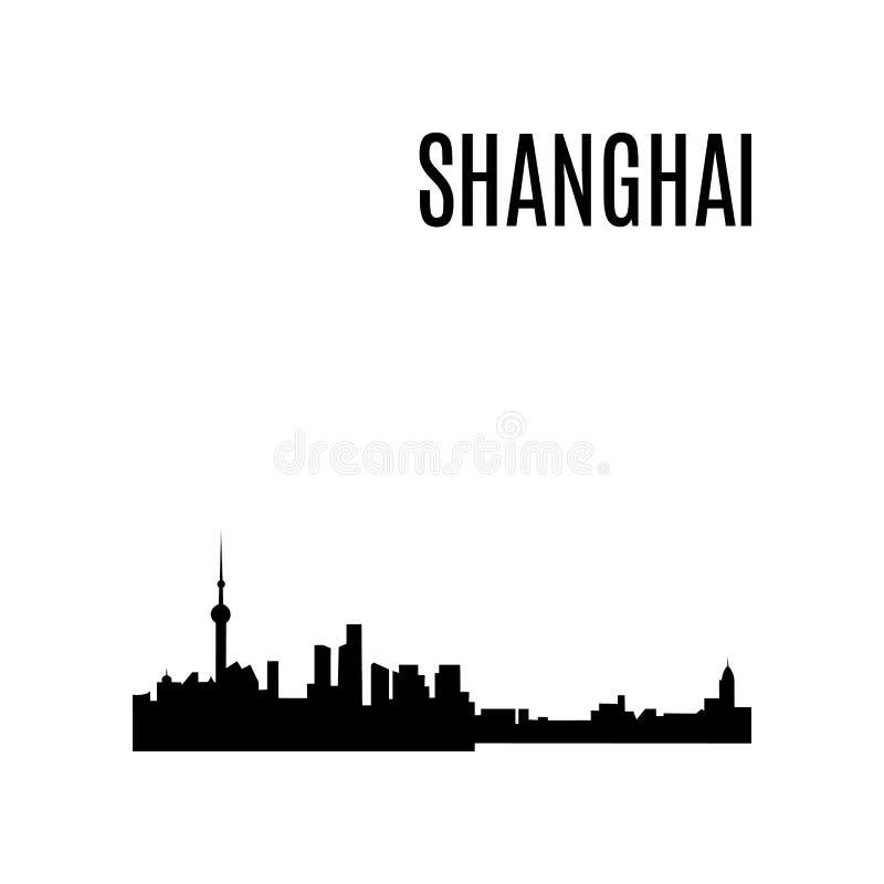 Vector Vector van de de Stadshorizon van Shanghai het silhouetpanorama Het oriëntatiepunt van China stock illustratie