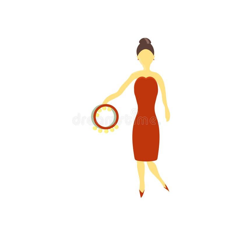 Vector vectordieteken en het symbool van de meisjes het speeltamboerijn op witte achtergrond, vector het embleemconcept wordt geï royalty-vrije illustratie