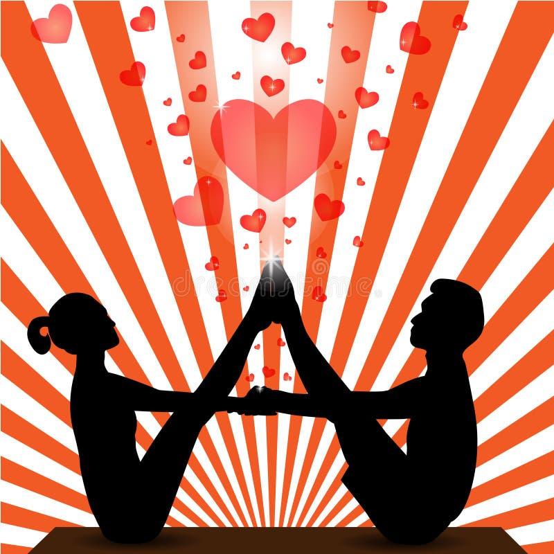 Vector - Vectorillustratie van een meisje het praktizeren yoga vector illustratie