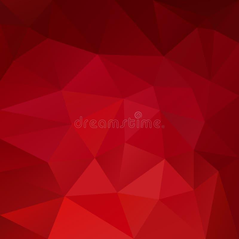 Vector veelhoekig achtergronddriehoeks laag polypatroon - trillende granaat rode kleur stock illustratie