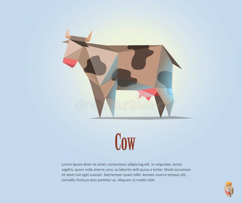 Vector veelhoekige illustratie van zwart-witte koe met melk stock illustratie