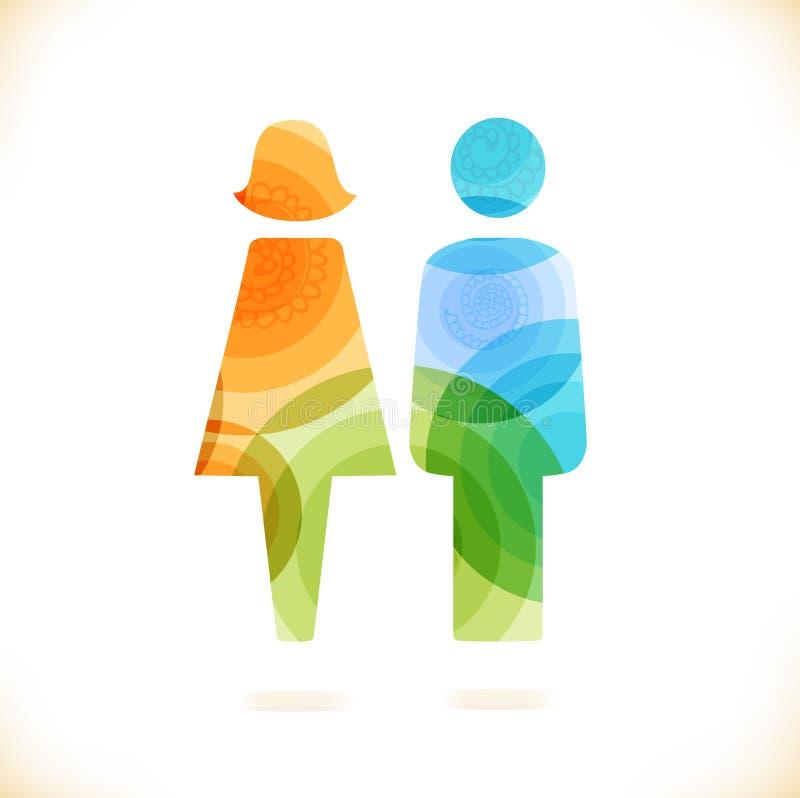 Vector veelkleurig liefdesymbool Schoonheids ongebruikelijk element voor ontwerp Houdend van paar, paar minnaars, liefjes royalty-vrije illustratie