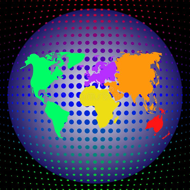 Vector veelkleurige wereldkaart met continenten op de bol op een diepe donkere achtergrond royalty-vrije illustratie