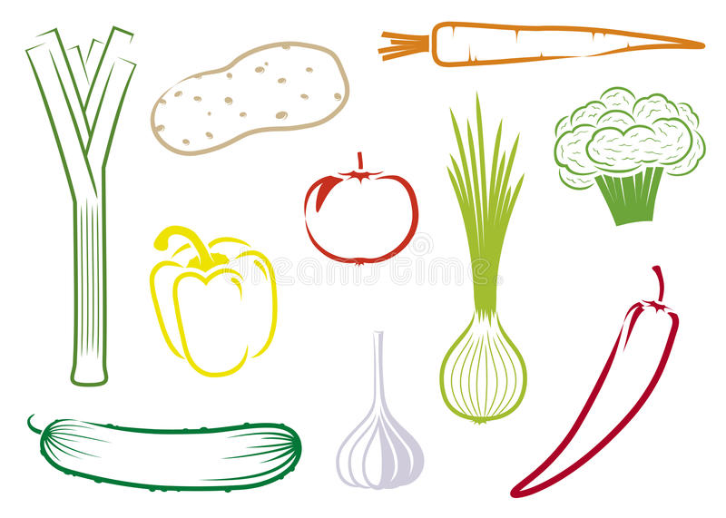 Vector vegetables set. A set of cartoon style drawings of few vegetables. Vector format also available vector illustration