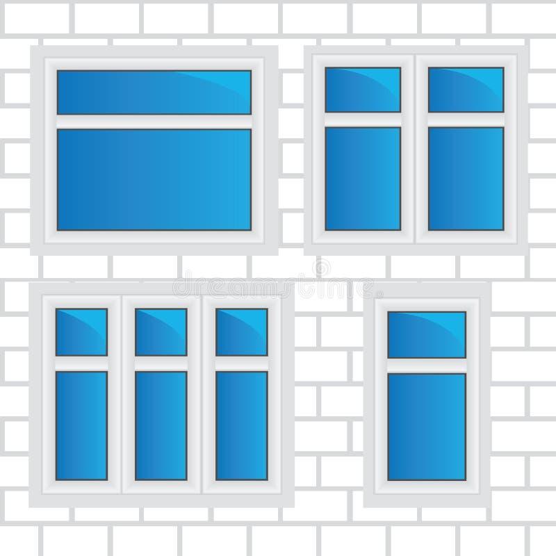 Vector vensters, bakstenen muur stock illustratie