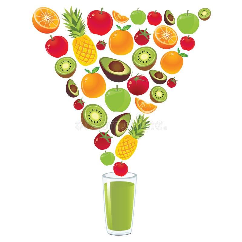 Vector verde sano del zumo de fruta stock de ilustración