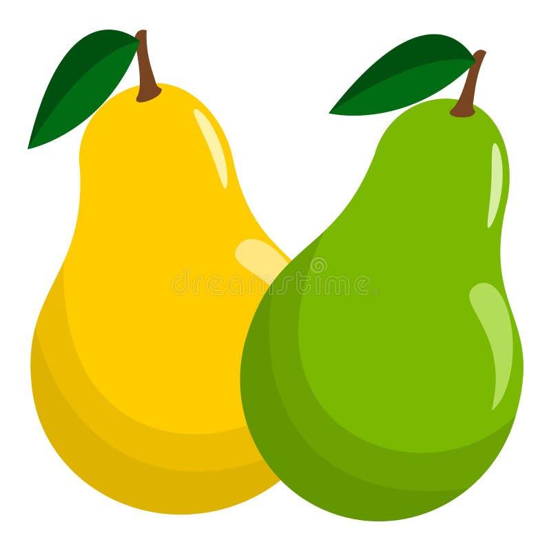 Vector verde y amarillo jugoso de la fruta de la pera libre illustration