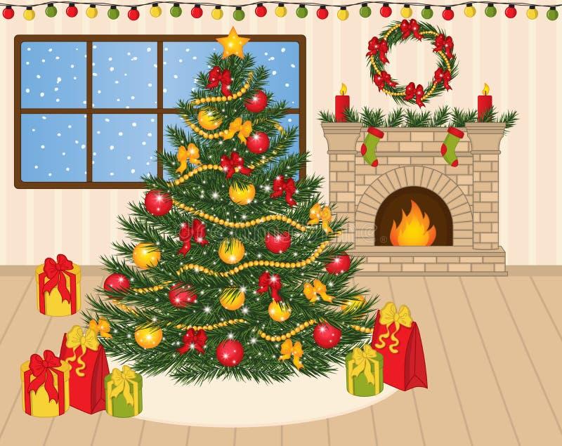 Vector Verfraaide Kerstboom, Kerstmisgiften en Open haard stock illustratie