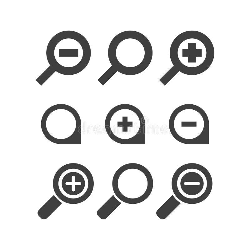 Vector Vergrößerungsglas Glas- und Zoom Ikonen-Suchelupe lizenzfreie abbildung