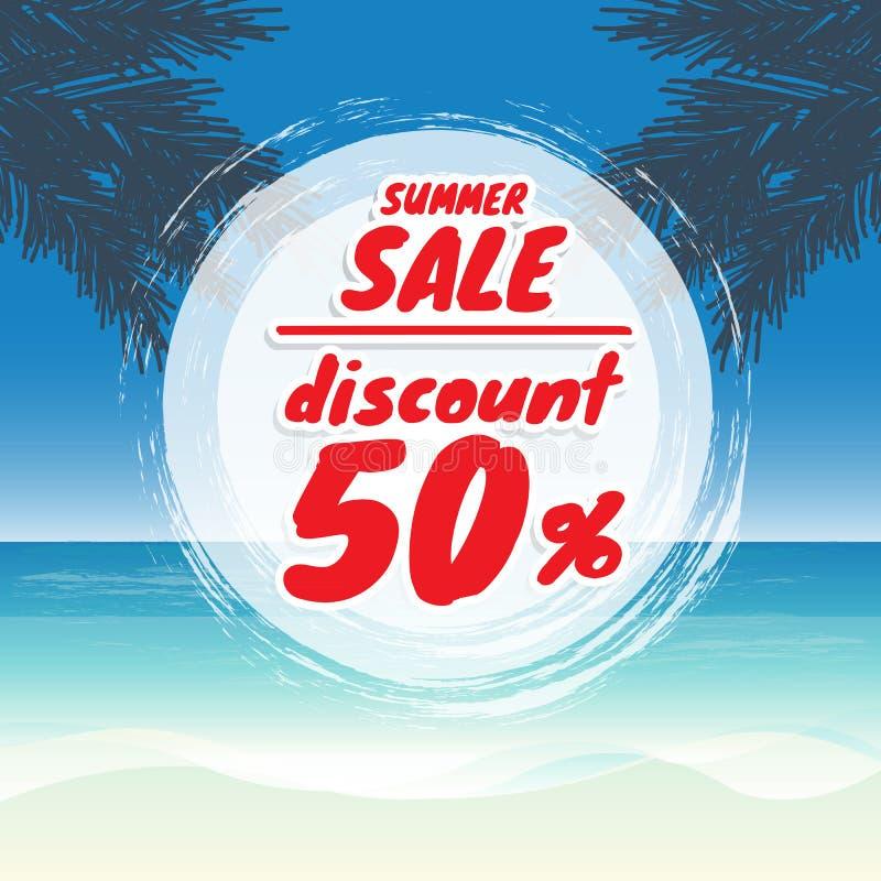 Vector Verkaufsfahnen-Sommerrabatt auf dem Strand mit Meer und San lizenzfreie abbildung