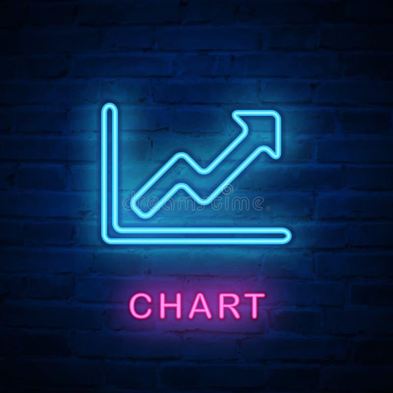 Vector verlichte het teken financiële infographic grafiek van het neonlichtpictogram royalty-vrije illustratie