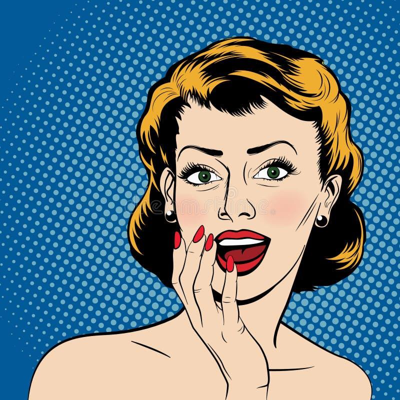 Vector verraste vrouw in de stijl van de pop-artstrippagina royalty-vrije stock afbeelding