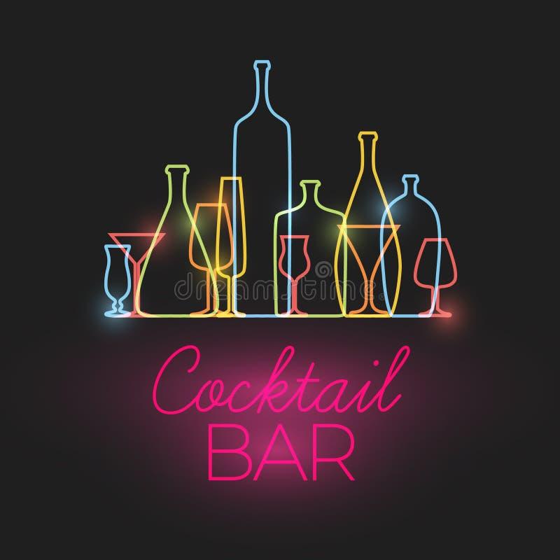 Vector Vers het neonteken van de Cocktailbar vector illustratie