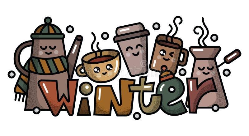 Vector verschillende koffiekoppen en mokken voor koffiemenu en restaurant royalty-vrije stock fotografie