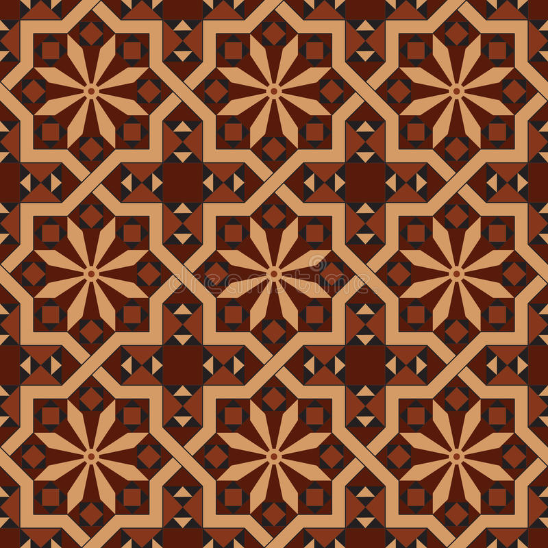 Vector version of seamless vintage editable tile pattern with geometrical and floral motifs. In warm red, brown, black, ocher colors. Can be used as mosaic wall stock illustration
