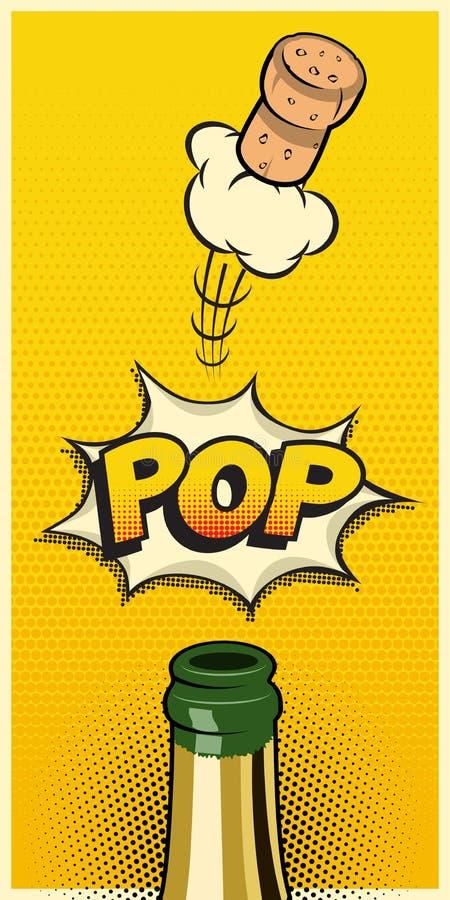 Vector verticaal vakantieelement in grappige boek of mangastijl Champagne-fles met vliegende cork en Pop woord stock illustratie