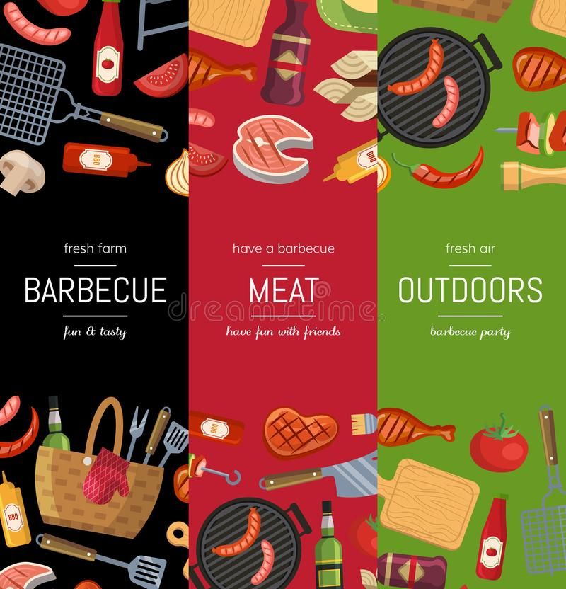 Vector Vertical Banner Templates For Barbecue Or Grill Cooking Stock ...