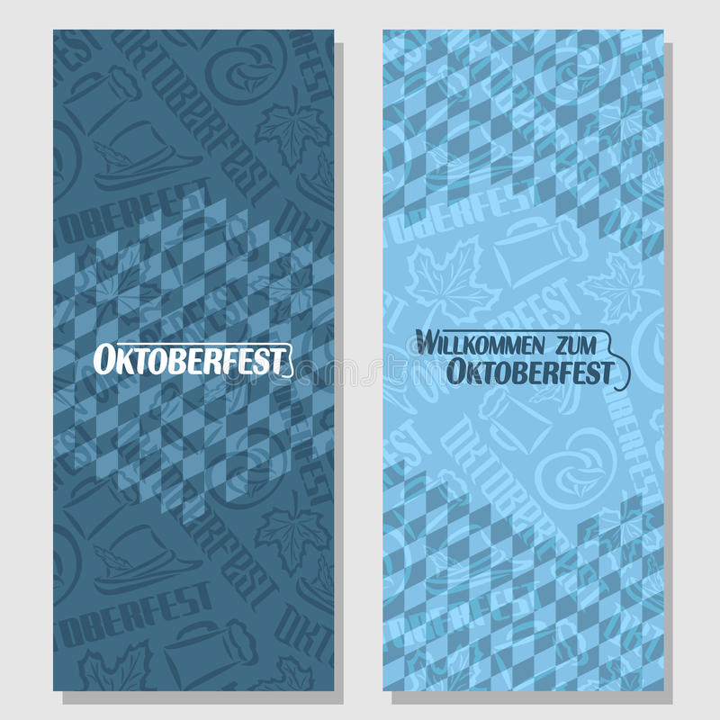 Vector vertical banners bavarian pattern oktoberfest. Vector vertical banners bavarian pattern flag oktoberfest. On Background blue rhombus diamond ticket royalty free illustration