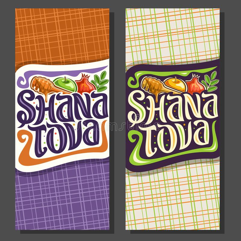 Vector vertical banners for jewish holiday Rosh Hashanah. Autumn honey flowing from wooden stick, traditional food - sweet apple and healthy pomegranate vector illustration