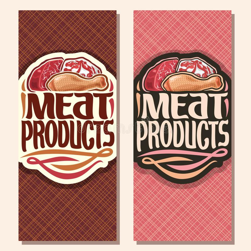 Vector vertical banners for Meat. Cut piece of raw marble beef, chop slice of fat pork meat and uncooked chicken drumstick, original brush typeface for words vector illustration