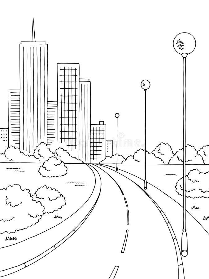 Vector vertical del ejemplo de la ciudad del camino de la calle del bosquejo blanco negro gráfico del paisaje libre illustration