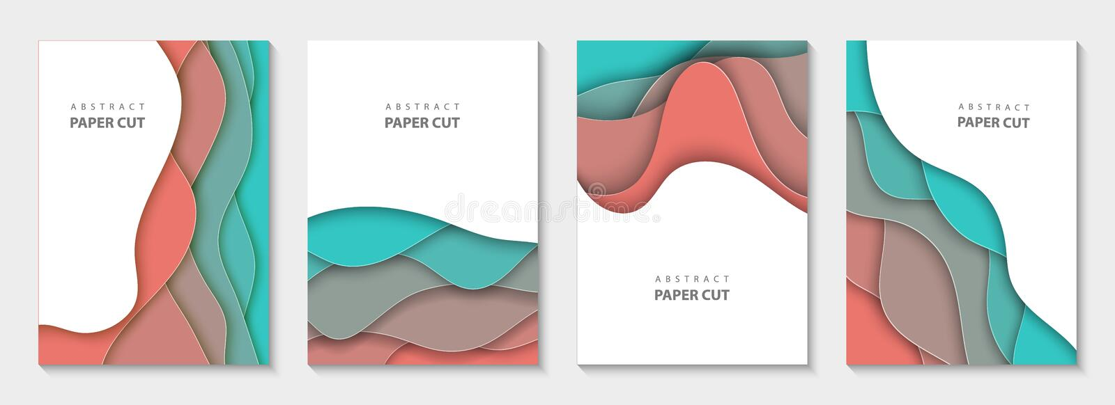 Vector vertical flyers with colorful paper cut waves shapes. 3D abstract paper style, design layout for business presentations royalty free stock photo