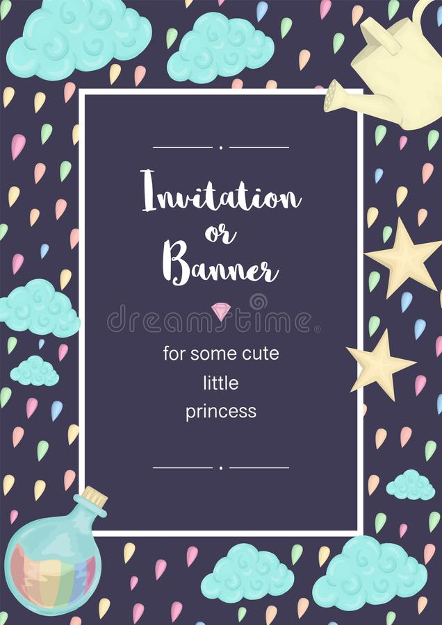 Vector vertical frame with colored raindrops, clouds, stars, watering can. Unicorn themed card template for children event. Girlish cute invitation or banner vector illustration