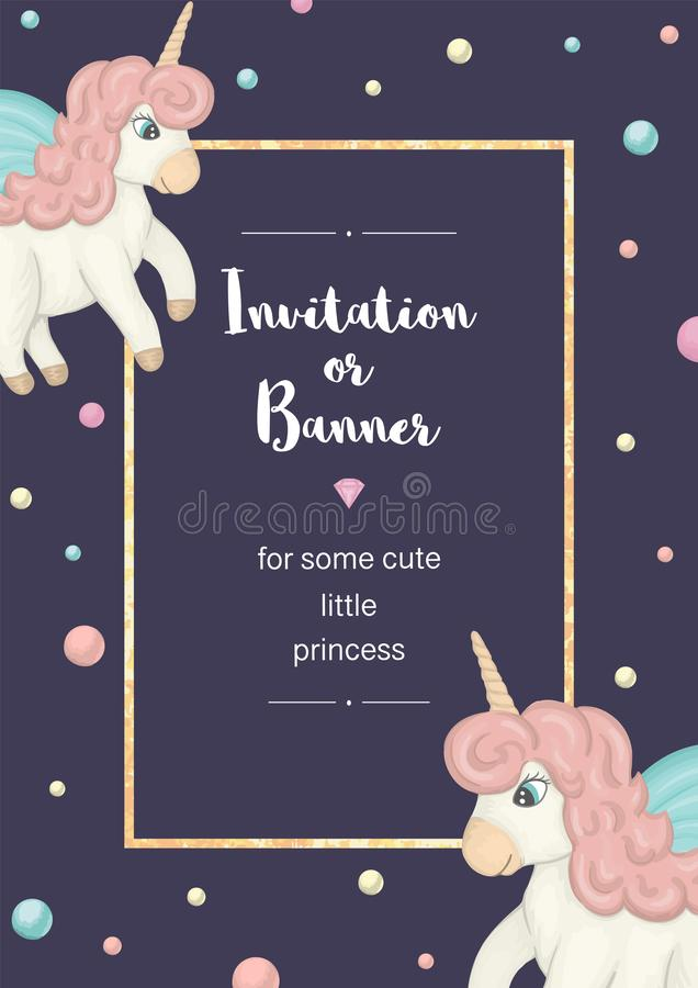 Vector vertical frame with colored unicorns. Card template for children event. Girlish cute invitation or banner design vector illustration