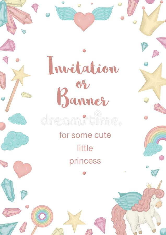 Vector vertical frame with unicorn, rainbow, crown, star, cloud, crystals. Card template for children event. Girlish cute invitation or banner design vector illustration