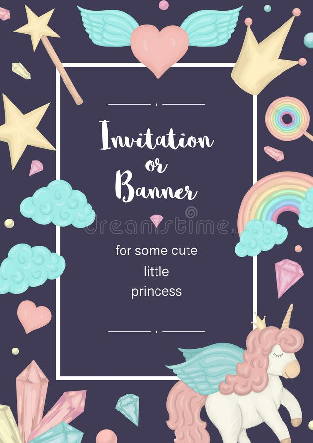 Vector vertical frame with unicorn, rainbow, crown, star, cloud, crystals. Card template for children event. Girlish cute invitation or banner design royalty free illustration