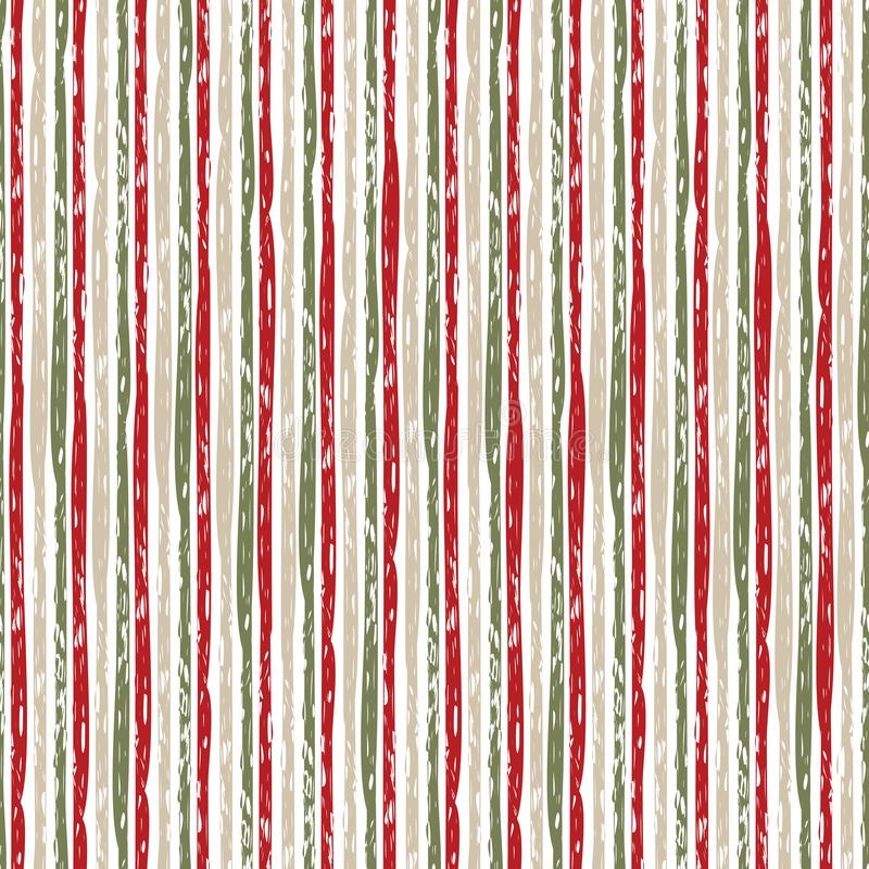 Vector vertical grunge brush striped repeat pattern in red, green, beige and white background. Texture for web, print stock illustration