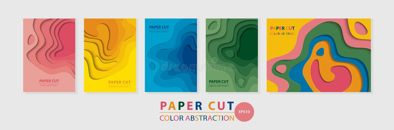 Vector vertical and horizontal multicolored 3D abstract A4 templates for various kinds of printed products royalty free stock photography