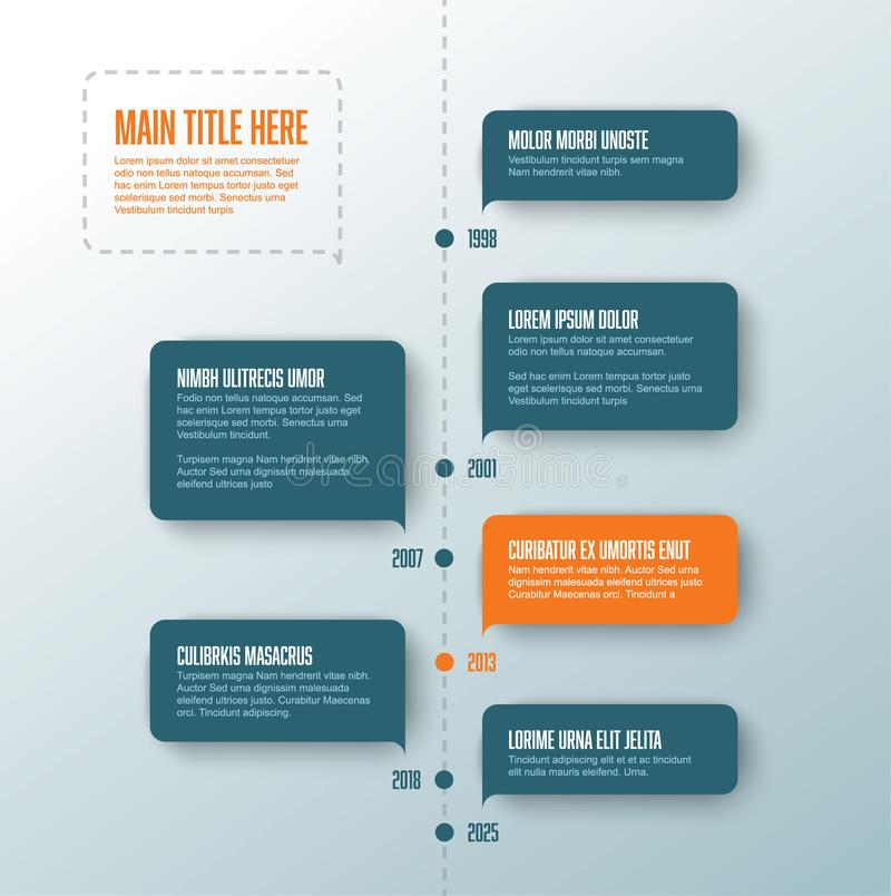 Vector vertical infographic timeline template. With teal and orange bubbles vector illustration