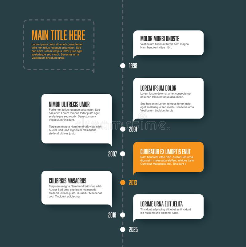 Vector vertical infographic timeline template. With white bubbles royalty free illustration