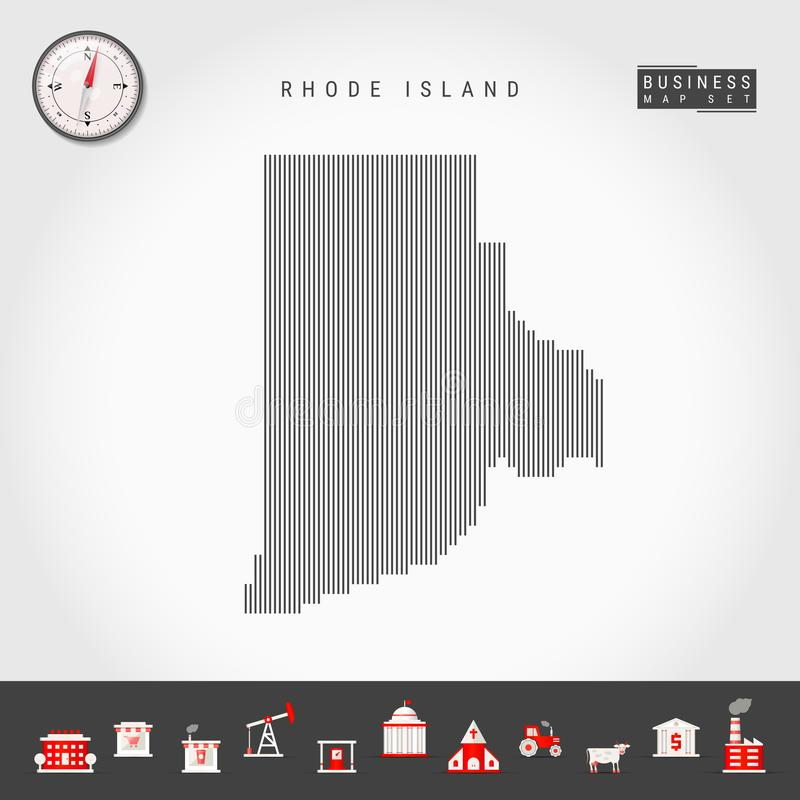 Vector Vertical Lines Pattern Map of Rhode Island. Striped Silhouette of Rhode Island. Realistic Compass. Business Icons vector illustration