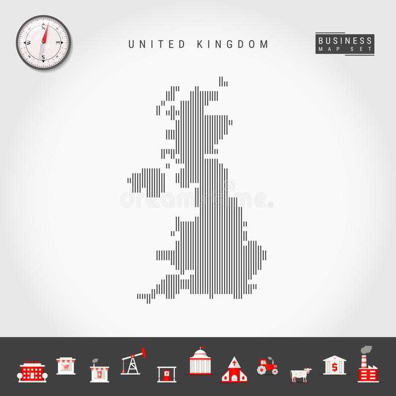 Vector Vertical Lines Map of United Kingdom. Striped Silhouette of Great Britain. Realistic Compass. Business Icons. Vector Vertical Lines Pattern Map of United stock illustration