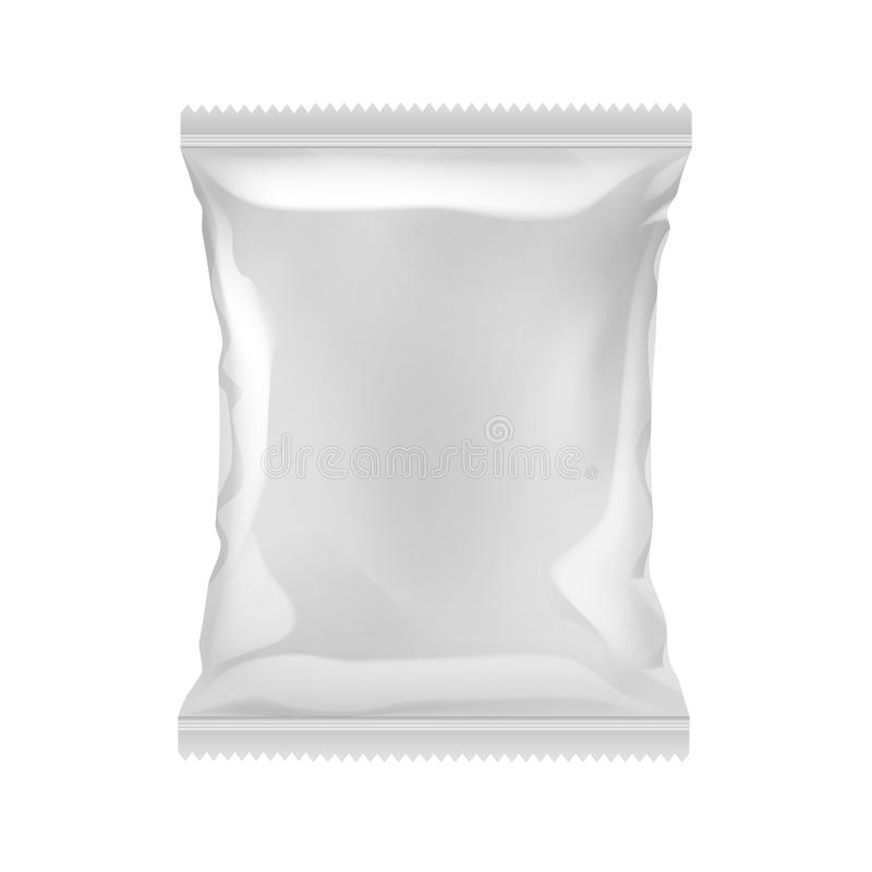 Vector Vertical Sealed Empty Plastic Foil Bag for Package Design with Serrated Edge Close up Isolated on White. Vector Vertical Sealed Empty Plastic Foil Bag for royalty free illustration